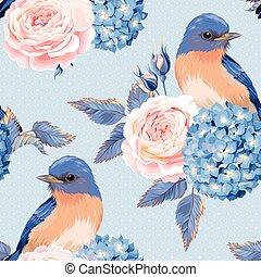årgång, blomningen, seamless, fåglar