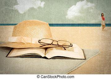 årgång, bok, strand hatt
