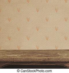 årgång, bord, på, den, bakgrund, av, hjärta mönstra, vägg