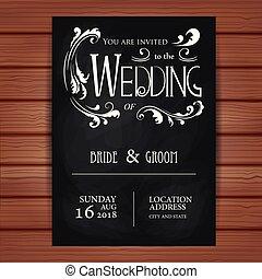 årgång, bröllop inbjudan, kort, på, blackboard, bakgrund