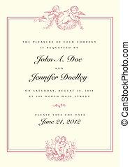 årgång, bröllop, vektor, cupid, inbjudan