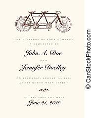 årgång, bröllop, vektor, cykel, inbjudan