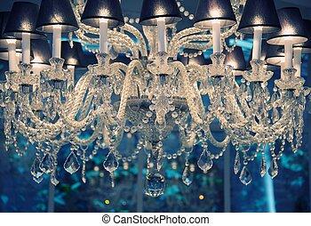 årgång, chandelier., kristall