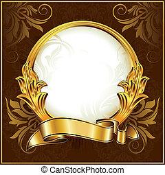 årgång, cirkel, ram, guld