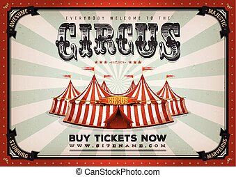 årgång, cirkus, affisch, bakgrund