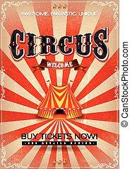 årgång, cirkus, affisch