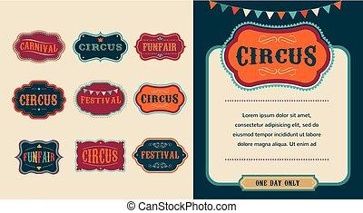 årgång, cirkus, etiketter, sätta