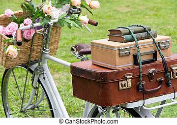 årgång, cykel, på, den, fält