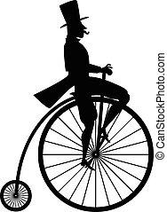 årgång, cykel, silhuett