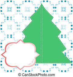årgång, dekorerat, träd, jul, bakgrund
