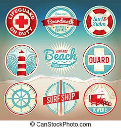årgång, etiketter, strand, märken