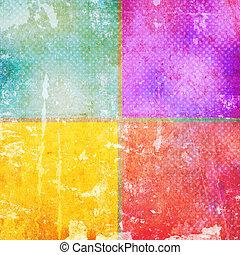 årgång, färg, fyrkanteer
