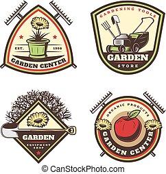 årgång, färgad, trädgårdsarbete, symboler, sätta