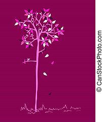 årgång, färger, bladen, träd, sätta