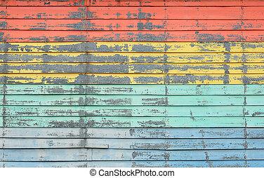 årgång, färgrik, trä vägg