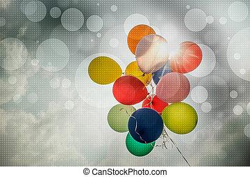 årgång, färgrika ballonger