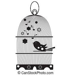 årgång, fågelbur, med, fåglar