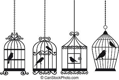 årgång, fågelburar, med, fåglar