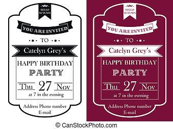 årgång, födelsedag festa, inbjudan