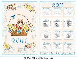 årgång, ficka, kalender, 2011, med, katt sitta, in, den, basket., 70, x105, millimeter