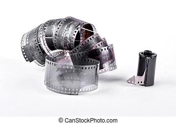årgång, film vältra, vita, bakgrund.