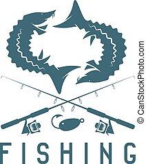 årgång, fiske, vektor, design, mall, med, stör