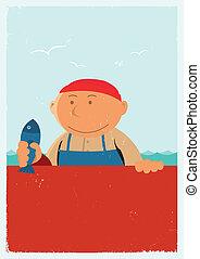 årgång, fiskhandlare, affisch, bakgrund