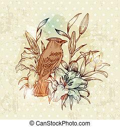 årgång, fjäder, kort, med, fågel, och, blomningen, -, hand, oavgjord, in, vektor
