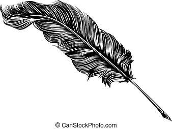 årgång, fjäderer fålla, illustration, vingpenna