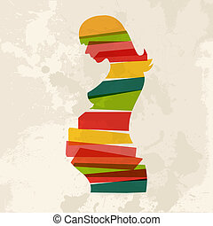 årgång, flerfärgad, kvinna, gravid
