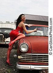 årgång, flicka, tvagning, bil