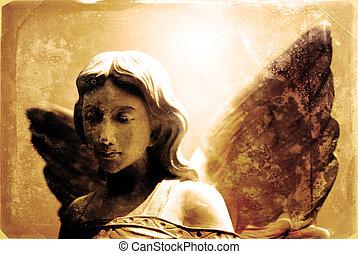 årgång fotografi, ängel staty