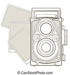 årgång, fotografi kamera, med, vinjett