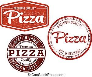 årgång, frimärken, pizza, meny