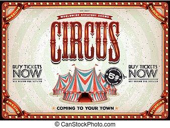 årgång, gammal, cirkus, affisch