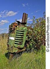 årgång, gammal, grön, traktor