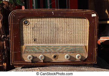 årgång, gammal, radio, till salu, hos, marknaden