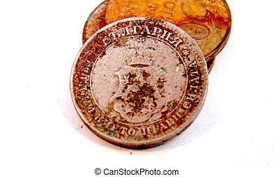 årgång, gammal, rostig, mynt