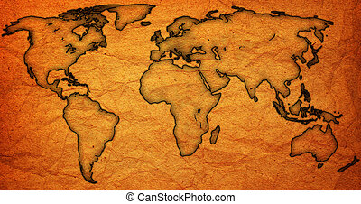 Årgång, gammal, värld, karta