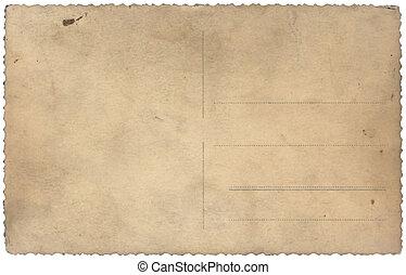 årgång, gammal, vykort, isolerat