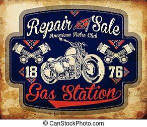 Årgång,  gas, Etiketter,  retro, undertecknar, bensin,  station