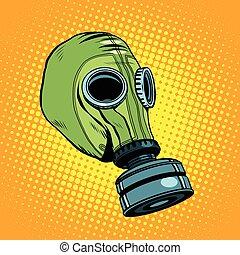 Årgång,  gas, gummi, maskera,  retro, bakgrund, grön