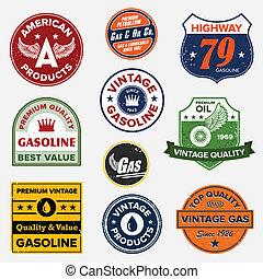 årgång, gas, retro, undertecknar