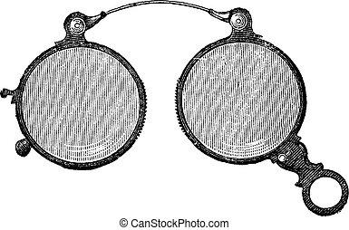 årgång, glasögon, fäster ihop, näsa, har, runda, engraving.