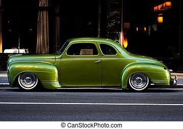 årgång, grön bil, stad