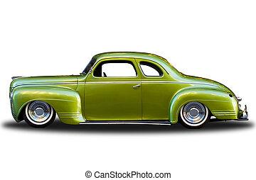 årgång, grön, isolerat, bil