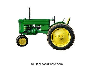 årgång, grön, traktor