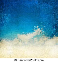 årgång, grunge, bakgrund, sky