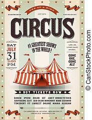 årgång, grunge, cirkus, affisch