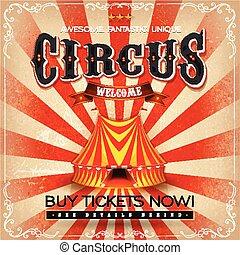 årgång, grunge, fyrkant, cirkus, affisch